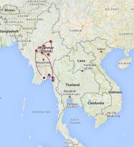 carte itineraire birmanie